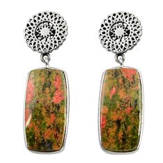 Clearance Sale- 925 sterling silver 23.72cts natural green unakite dangle earrings d39657