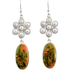 Clearance Sale- 925 sterling silver 25.13cts natural green unakite pearl dangle earrings d39664