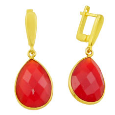 925 sterling silver 20.36cts natural honey onyx 14k gold dangle earrings r32544