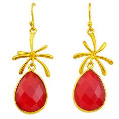 15.43cts natural honey onyx 14k gold handmade dangle earrings t11484