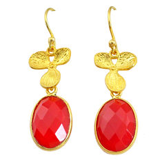 11.23cts natural honey onyx 14k gold handmade dangle earrings t11695