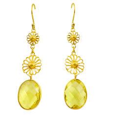925 sterling silver 12.06cts natural lemon topaz 14k gold dangle earrings r31604