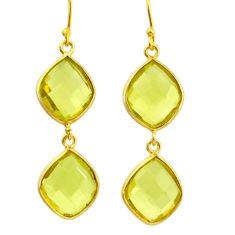 925 sterling silver 15.93cts natural lemon topaz 14k gold dangle earrings r31631