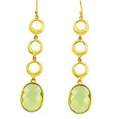 925 sterling silver 17.22cts natural lemon topaz 14k gold dangle earrings r38487