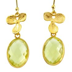 925 sterling silver 11.26cts natural lemon topaz 14k gold dangle earrings r38504