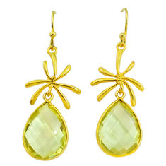 15.43cts natural lemon topaz 14k gold handmade dangle earrings t11412