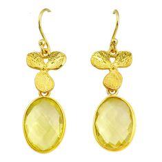 Handmade 10.60cts natural lemon topaz 14k gold dangle earrings t16504