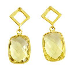 Handmade 10.89cts natural lemon topaz 14k gold dangle earrings t16551
