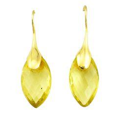 Handmade 15.25cts natural lemon topaz 14k gold dangle earrings t16670