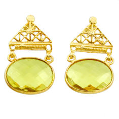 925 sterling silver 17.86cts natural lemon topaz 14k gold earrings r38533
