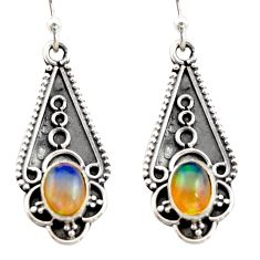 925 sterling silver 3.40cts natural multi color ethiopian opal earrings r21804