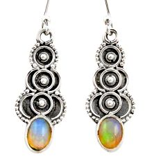 925 sterling silver 3.17cts natural multi color ethiopian opal earrings r21808