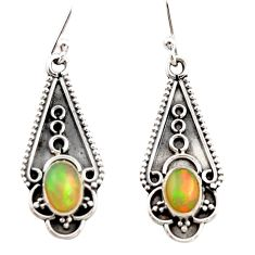 925 sterling silver 3.42cts natural multi color ethiopian opal earrings r21812