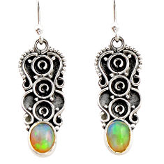 925 sterling silver 3.18cts natural multi color ethiopian opal earrings r21816