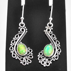 925 sterling silver 3.42cts natural multi color ethiopian opal earrings t4004