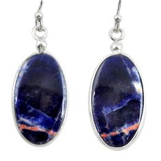 925 sterling silver 11.28cts natural orange sodalite dangle earrings r28887