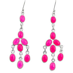 925 sterling silver 19.73cts natural pink chalcedony chandelier earrings d39784