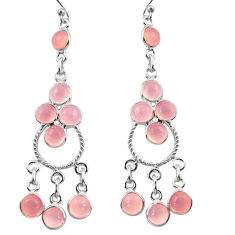 925 sterling silver 12.96cts natural pink chalcedony chandelier earrings r37384