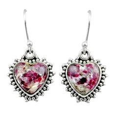 925 sterling silver 8.26cts natural pink eudialyte dangle earrings t41549