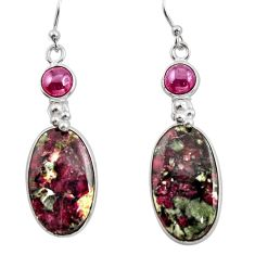 925 sterling silver 20.40cts natural pink eudialyte red garnet earrings r26592