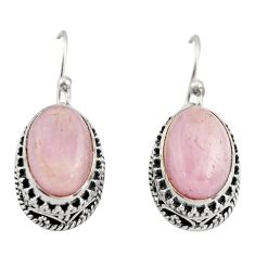 925 sterling silver 8.98cts natural pink kunzite dangle earrings jewelry r21907