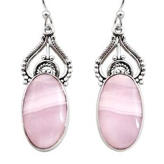 925 sterling silver 16.20cts natural pink lace agate dangle earrings r30324