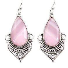 925 sterling silver 16.68cts natural pink lace agate dangle earrings r30332