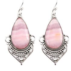 925 sterling silver 18.10cts natural pink lace agate dangle earrings r30339