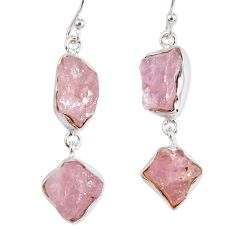 925 sterling silver 18.47cts natural pink morganite rough dangle earrings r55464