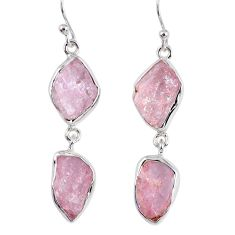 925 sterling silver 16.17cts natural pink morganite rough dangle earrings r55467