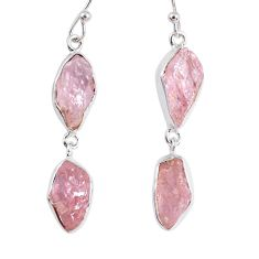 925 sterling silver 15.85cts natural pink morganite rough dangle earrings r55470