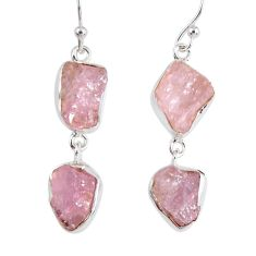 925 sterling silver 15.85cts natural pink morganite rough dangle earrings r55474
