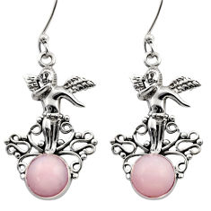 Clearance Sale- 925 sterling silver 5.50cts natural pink opal angel earrings jewelry d40769