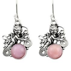 925 sterling silver 5.95cts natural pink opal angel earrings jewelry d40771