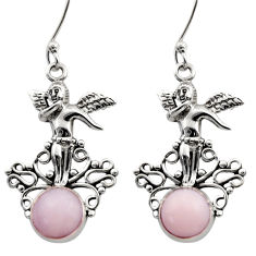925 sterling silver 6.32cts natural pink opal angel wings fairy earrings d40775