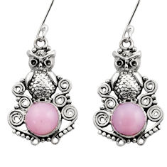925 sterling silver 5.83cts natural pink opal owl earrings jewelry d40778