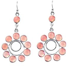 925 sterling silver 15.31cts natural pink rose quartz dangle earrings r37484