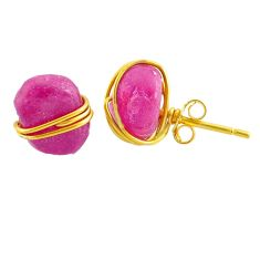 Fancy rough 8.79cts natural pink ruby raw 14k gold handmade stud earrings r79773