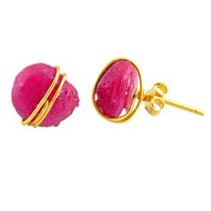 10.70cts rough natural pink ruby raw 14k gold handmade stud earrings r79780
