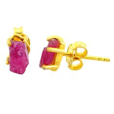 4.39cts natural pink ruby raw 14k gold handmade stud earrings t7471
