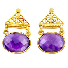 925 sterling silver 17.22cts natural purple amethyst 14k gold earrings r38528