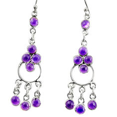 925 sterling silver 9.23cts natural purple amethyst chandelier earrings r35670