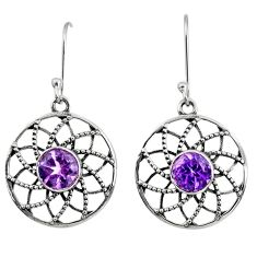 Clearance Sale- 925 sterling silver 4.53cts natural purple amethyst dangle earrings d40128