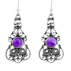 925 sterling silver 2.46cts natural purple amethyst dangle earrings d41124
