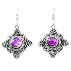925 sterling silver 2.74cts natural purple amethyst dangle earrings d47009