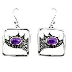 925 sterling silver 3.16cts natural purple amethyst dangle earrings r27008