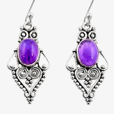 925 sterling silver 4.02cts natural purple amethyst dangle earrings r31184