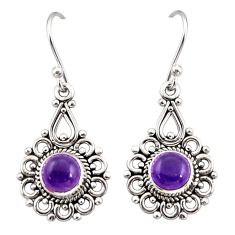 925 sterling silver 2.78cts natural purple amethyst dangle earrings r31227