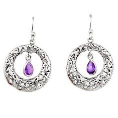 925 sterling silver 2.12cts natural purple amethyst dangle earrings r33044