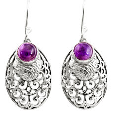 925 sterling silver 2.47cts natural purple amethyst dangle earrings r36584